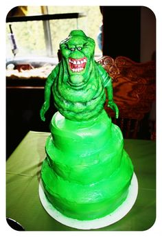 Slimer cake for Ghostbusters party! 3rd Birthday Parties, Birthday Cake, Birthday Ideas, Ghostbusters Cake, Kale Recipes, Cupcake Cakes, Cupcakes, Sweet Cakes, Cake Creations