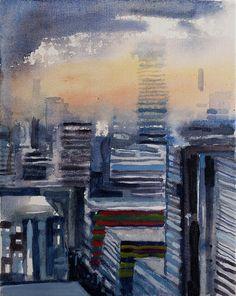 "Konrad Stafiński ""Just a Cityscape"" Oil on linen 40X30cm"