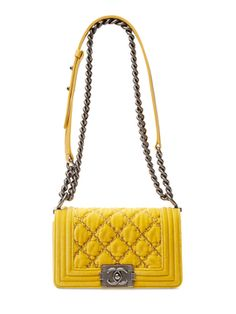 Yellow Quilted Velvet Small Boy Bag from Spring Essentials  Handbags   More  on Gilt French · French Luxury BrandsChanel Boy BagCoco ... ad335575f4