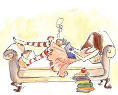 Un poco de descanso, con lectura (ilustración de Thérèse Cilia)