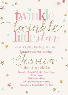 Twinkle Twinkle Little Star Girl Shower by RachellesPrintables