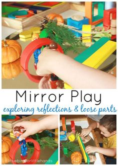 Mirror Play Exploring Reflections and Loose Parts I have seen a few wonderful po. Mirror Play Exploring Reflections and Loose Parts I have seen a few wonderful posts using mirrors t Science Center Preschool, Science Experiments For Preschoolers, Preschool Curriculum, Emergent Curriculum, Science Centers, Homeschooling, Teaching Kindergarten, Science Area, Infant Curriculum