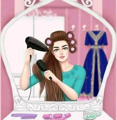 Find images and videos about girly, make up and mirror on We Heart It - the app to get lost in what you love. Cartoon Pics, Girl Cartoon, Cute Cartoon, Girly Drawings, Cartoon Drawings, Realistic Drawings, Girly M, Beautiful Muslim Women, Beautiful Hijab