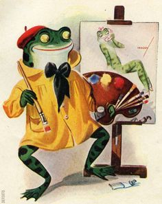 ARTIST FROG. 1942. I love this little cheesecake artist and his Vargas-inspired signature.