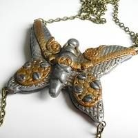 Steampunk Butterfly Necklace Pendant, Handmade Polymer Clay Steampunk Jewellery