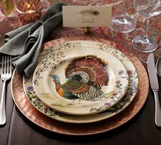 Add a layer of warm sheen and soft texture to a table setting. Our charger works well with classic dinnerware as well as colorful dishes. Thanksgiving Dinner Plates, Thanksgiving Dinnerware, Thanksgiving Table Settings, Thanksgiving Tablescapes, Thanksgiving Decorations, Happy Thanksgiving, Pottery Barn, Classic Dinnerware, Black Dinnerware