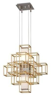 Corbett Lighting Metropolis 2 Light Unique Statement Square Rectangle Chandelier