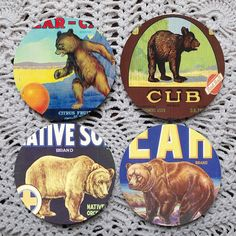 A Sleuth of  Bears  Vintage Crate Label Coaster Set by Polkadotdog, $11.50