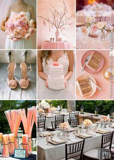 Idées centre de table mariage fleurs décoration pêche orange rose pâle - Décoration florale