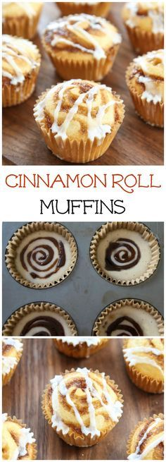 Cinnamon Roll Muffins. These adorable brunch muffins have swirls of cinnamon sugar and a drizzle of vanilla glaze.