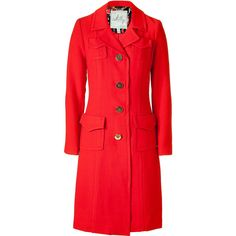 MILLY Lipstick Red Coat With Gold Buttons found on Polyvore