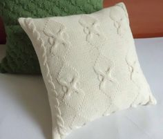 Cable knit cushion cover ivory 14x14 knitted by Adorablewares, $35.00