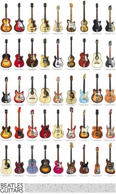 Beatles Guitars Art Print - LOVE