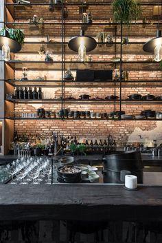 MESA Restaurant in Antwerpen von Dieter Vander Velpen Architects. Cafe Restaurant, Rustic Restaurant Interior, Architecture Restaurant, Restaurant Lighting, Restaurant Bar Design, Brewery Design, Bar Interior Design, Cafe Design, Casas Containers