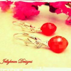 AAA grade Tangerine Carnelian cushion cut gemstones on Sterling Silver leverback ear wires with Fleur De Lis detail. www.madeit.com.au/jellybeandesigns  #carnelian #orange #earrings #jellybeandesigns