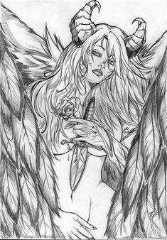 Démone coloring в 2019 г. art drawings, pencil drawings и dr Dark Fantasy Art, Fantasy Artwork, Dark Art, Angel Drawing, Woman Drawing, Adult Coloring Book Pages, Coloring Books, Colouring, Cool Drawings