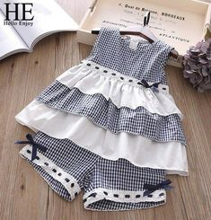 HE Hello Enjoy Summer Girls Clothes Sets Children's Clothing Fashion Girl Shirt Top+Striped Shorts Suits 2018 Kids ClothingAdorable Toddler And Junior Girls Fashion Two Piece Outfits In Multiple Styles- March 24 2019 atMagda Faber's media content and Baby Girl Dress Patterns, Little Dresses, Little Girl Dresses, Toddler Dress, Toddler Outfits, Girl Outfits, Kids Frocks, Frocks For Girls, Little Girl Fashion