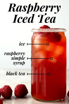 How to make raspberry iced tea at home. - Raspberries - Ideas of Raspberries - How to make raspberry i : How to make raspberry iced tea at home. - Raspberries - Ideas of Raspberries - How to make raspberry iced tea at home. Fruit Drinks, Diet Drinks, Smoothie Drinks, Non Alcoholic Drinks, Healthy Drinks, Healthy Food, Beverages, Smoothies, Nutrition Drinks