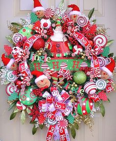 Ho Ho Ho Santa-Colorful Full Christmas Holiday Wreath-Free Shipping-Candy-Gingerbread Santas-More.