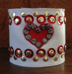 SMASHED HEART white leather STUDDED cuff bracelet by whackytacky, $45.00