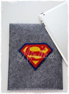 Superman figürlü keçe tablet kılıfı * www.misilaa.com * handmade * superheroes * felt * ipad kılıfı