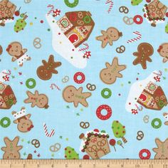 Gingerbread Cuties Tossed Gingerbread Blue from @fabricdotcom  From A.E. Nathan, this cotton print fabric is perfect for quilting, apparel and home decor accents. Colors include red, white, brown, light blue and green.