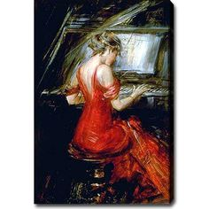 Giovanni Boldini 'The Woman in Red' Oil Canvas Art | Overstock.com Shopping - The Best Deals on Gallery Wrapped Canvas