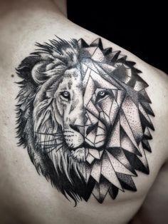 Geometric lion head half and half.