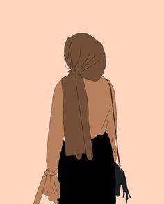 Wallpaper Aesthetic, Aesthetic Art, Girl Cartoon, Cute Cartoon, Cover Wattpad, Hijab Drawing, Islamic Cartoon, Anime Muslim, Hijab Cartoon