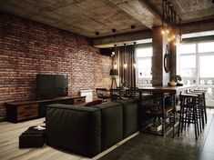 Brick loft exposed brick wall decorating ideas modern loft bedroom design w Apartment Interior, Interior Design Kitchen, Interior Design Living Room, Living Room Designs, Industrial Apartment, Industrial Loft, Living Rooms, Brick Loft, Loft Interiors