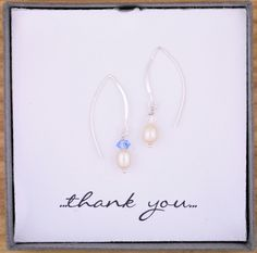 Wedding Bridesmaid Gift Present, Genuine Colored Crystal Drop Pearl Earrings, Your choice of colors,925 Solid Sterling Silver Long Drops by ThePinkLamShop on Etsy