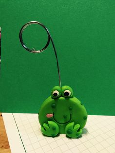 Homemade frog note holder.  Polymer clay.
