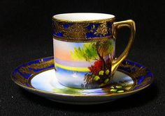 Old Noritake, cup and saucer, demitasse, Marquis mark, Aya Kon landscape painting