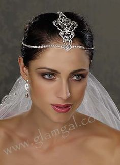 Bridal Hair Jewelry / Brow Band with Top Ornament