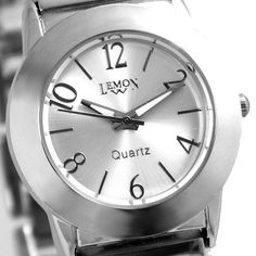 FW794E Nueva esfera blanca brillante de plata banda PNP de plata brillante de la caja de reloj del reloj de manera