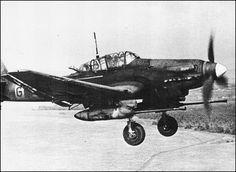 """Junkers Ju-87G-2 """"Stuka"""" (Kanonenvogel the Cannon-Bird) was a Tank Buster Aircraft of SG 2 Immelmann - Powered by 1 x Junker Jumo 211J Liquid Cooled Inverted V12 Engine Rated at 1,401 hp – Armament: 2 x 37mm Bordkanone BK 3,7, Cannon Pods (6 Rounds/Gun Magazine) 2 x 7.92mm MG 17 Machine Guns Forward 1 x 7.92mm MG 15 Flexible Mount in Rear and Could Cary a 2,200 lb Free-Fall Bomb Load – over Eastern Front - Russia - 1943"""