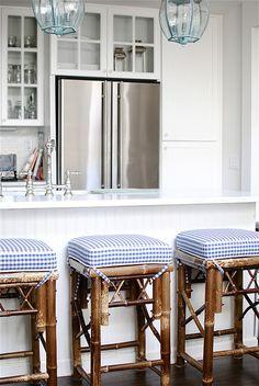 white kitchen, bamboo stools, check fabric....check!