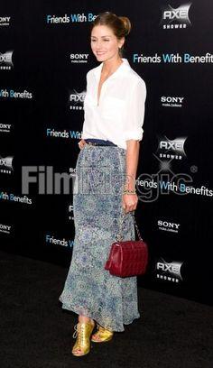 Olivia Palermo. maxi skirt, white button-up, belt + metallic shoes