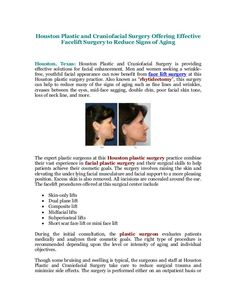 Houston Plastic and Craniofacial Surgery Offering Effective Facelift Surgery to Reduce Signs of Aging