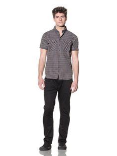 85% OFF ZAK Men\'s Short Sleeve Woven Shirt (Blue)