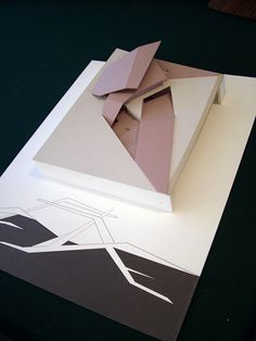 Model and abstract Medium: Paper, Chipboard, Graphite - Abstract architecture model