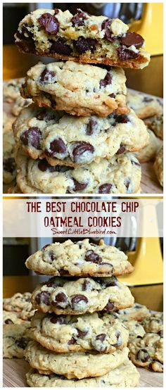 The Best Chocolate Chip Oatmeal Cookies - Chocolate Chip - Ideas of Chocolate Chip #ChocolateChip - THE BEST CHOCOLATE CHIP OATMEAL COOKIES The BEST chocolate chip oatmeal cookies Ive ever made. They are soft and chewy with a crispy edge loaded with semi-sweet chocolate chips and nutty oats. Chocolate Chip Cookie perfection. Bonus they can be made gluten-free too.