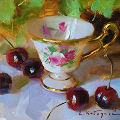 Antique Cup and Cherries by Elena Katsyura Oil ~ 6 x 6