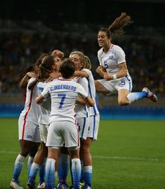 Women's Olympic Football team celebrate a goal during a group G match of the women's Olympic football tournament between United States and…