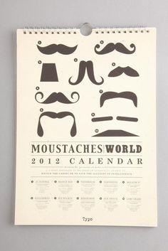 Moustache calendar, Mancave decor, Guy Gift