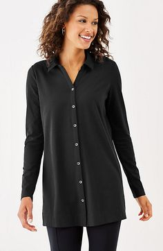 easy button-front tunic