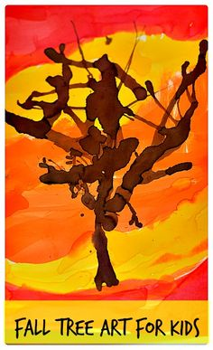 Simple straw blown art project for creating a vibrant fall tree art