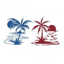 Sunset with Palm SVG Cuttable Designs