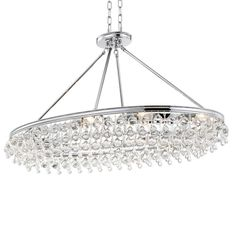 Crystorama Calypso 8 Light Crystal Teardrop Chrome Oval Chandelier