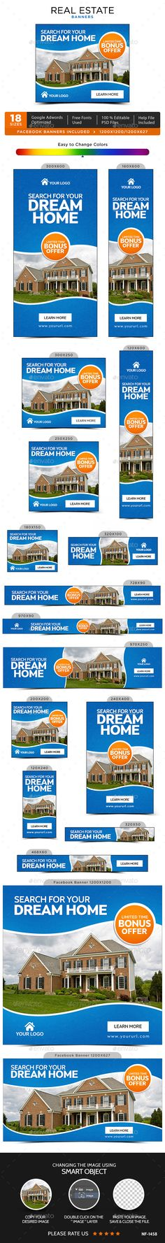 Real Estate Banners — Photoshop PSD #banners #metro design • Available here → https://graphicriver.net/item/real-estate-banners/17285862?ref=pxcr